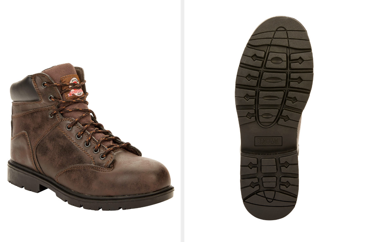 Split image of the side view and sole view of a brown steel toe work boot