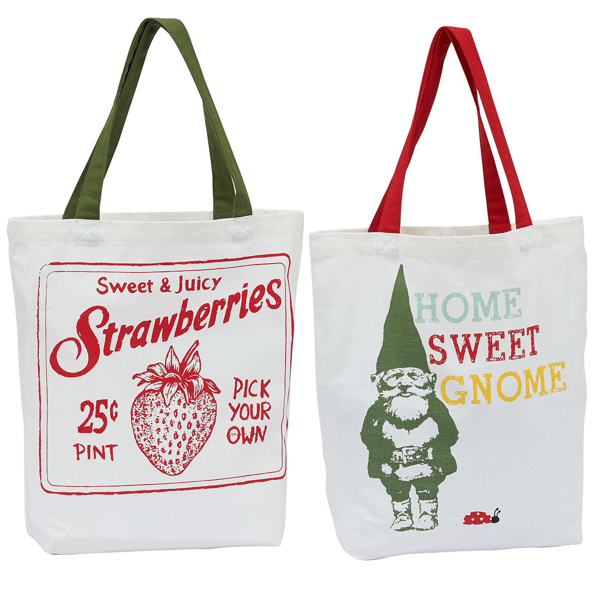 Two white canvas tote bags, one with green handles and a strawberry image and the other with red handles and a gnome image
