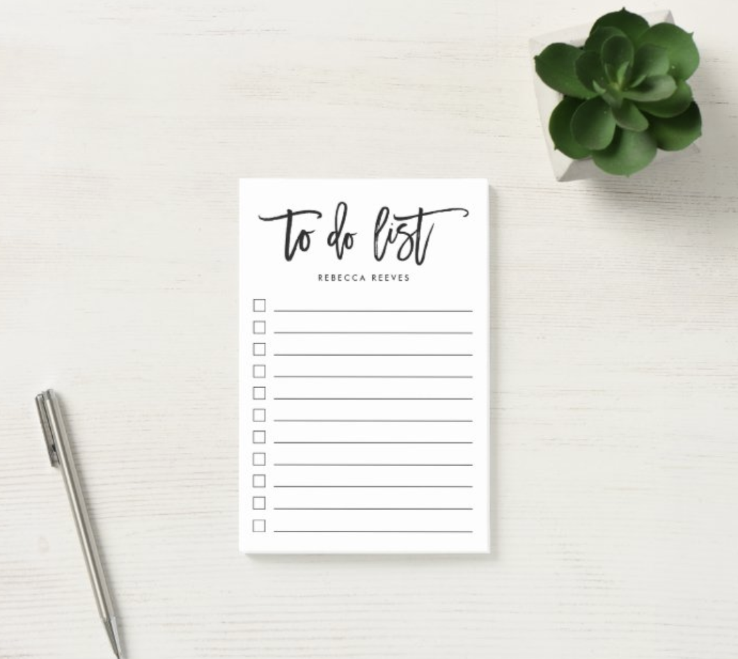A personalized to-do list with name