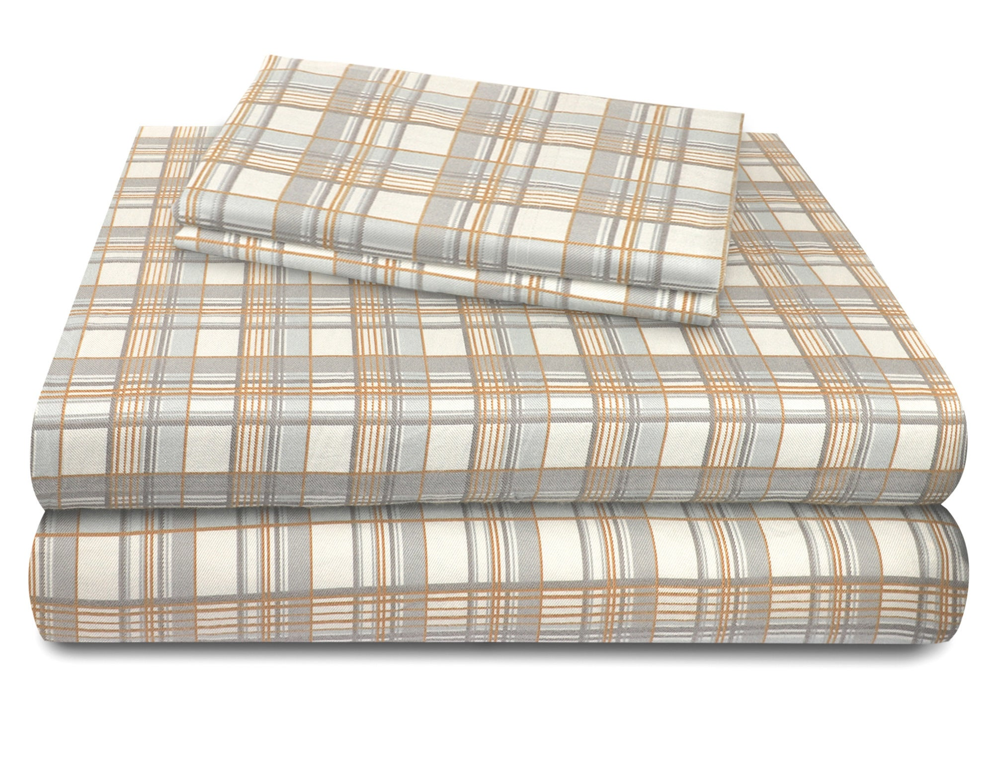 A folded and stacked set of multi-plaid flannel sheets