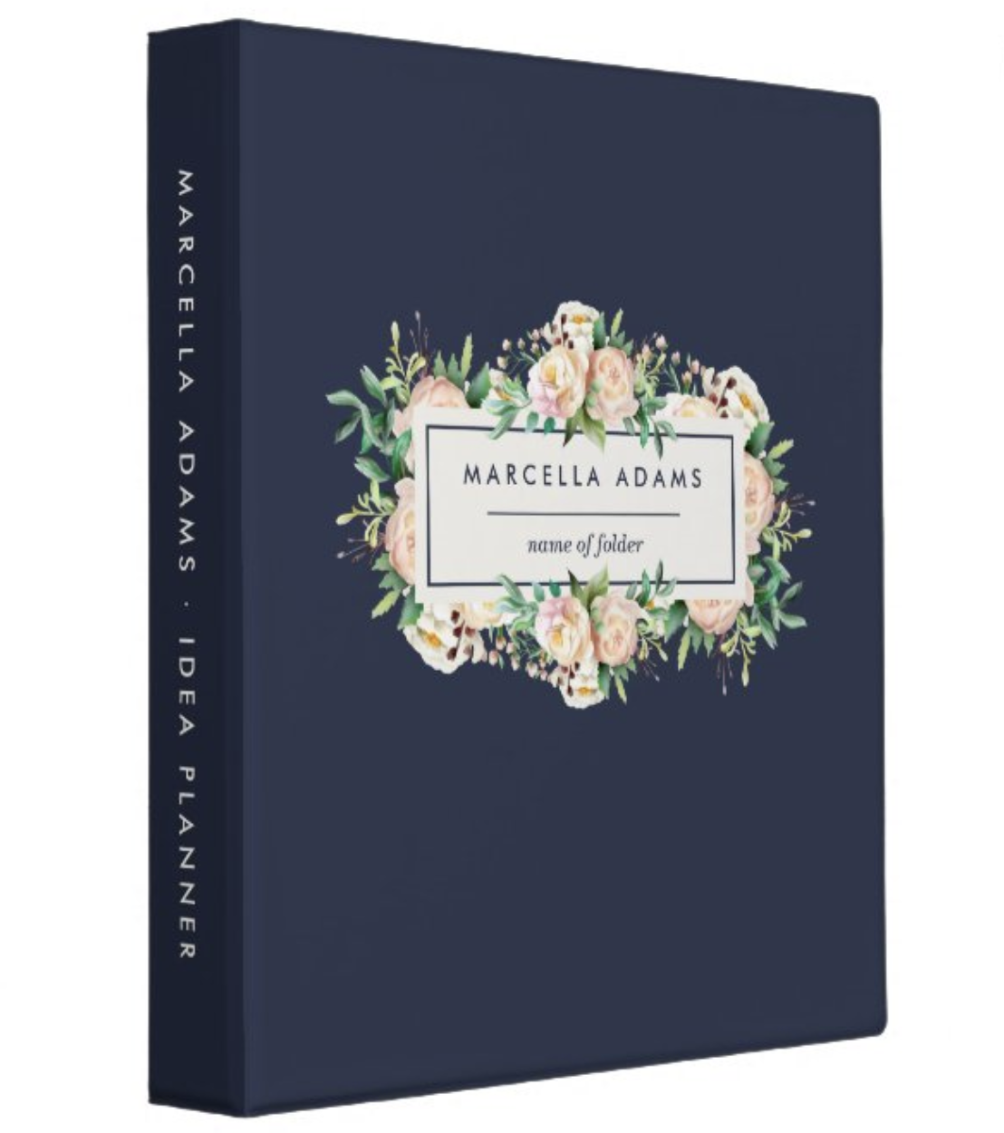 Navy blue binder with floral nameplate