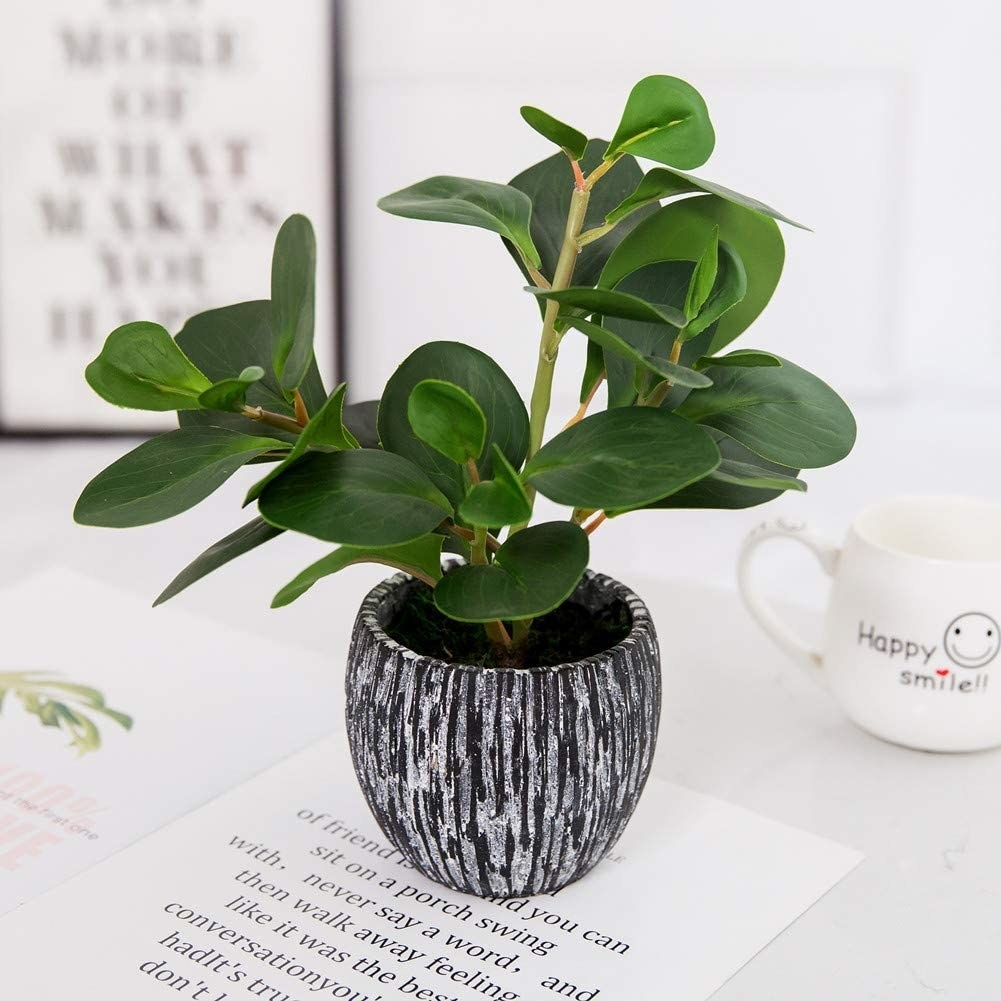 A faux fiddle leaf fig plant in a small pot with black and white paint-drop like stripes down the side