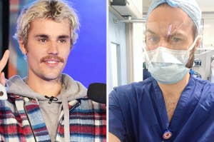 Side by side photos of Justin Bieber and Dr. Wolrich