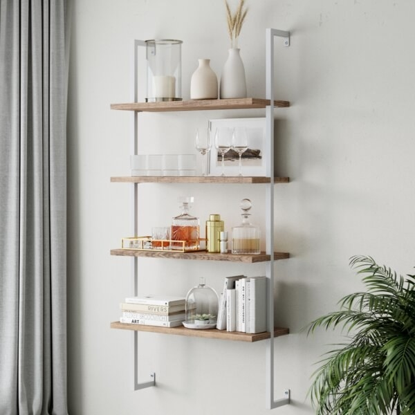White metal bookcase with four natural wood shelves