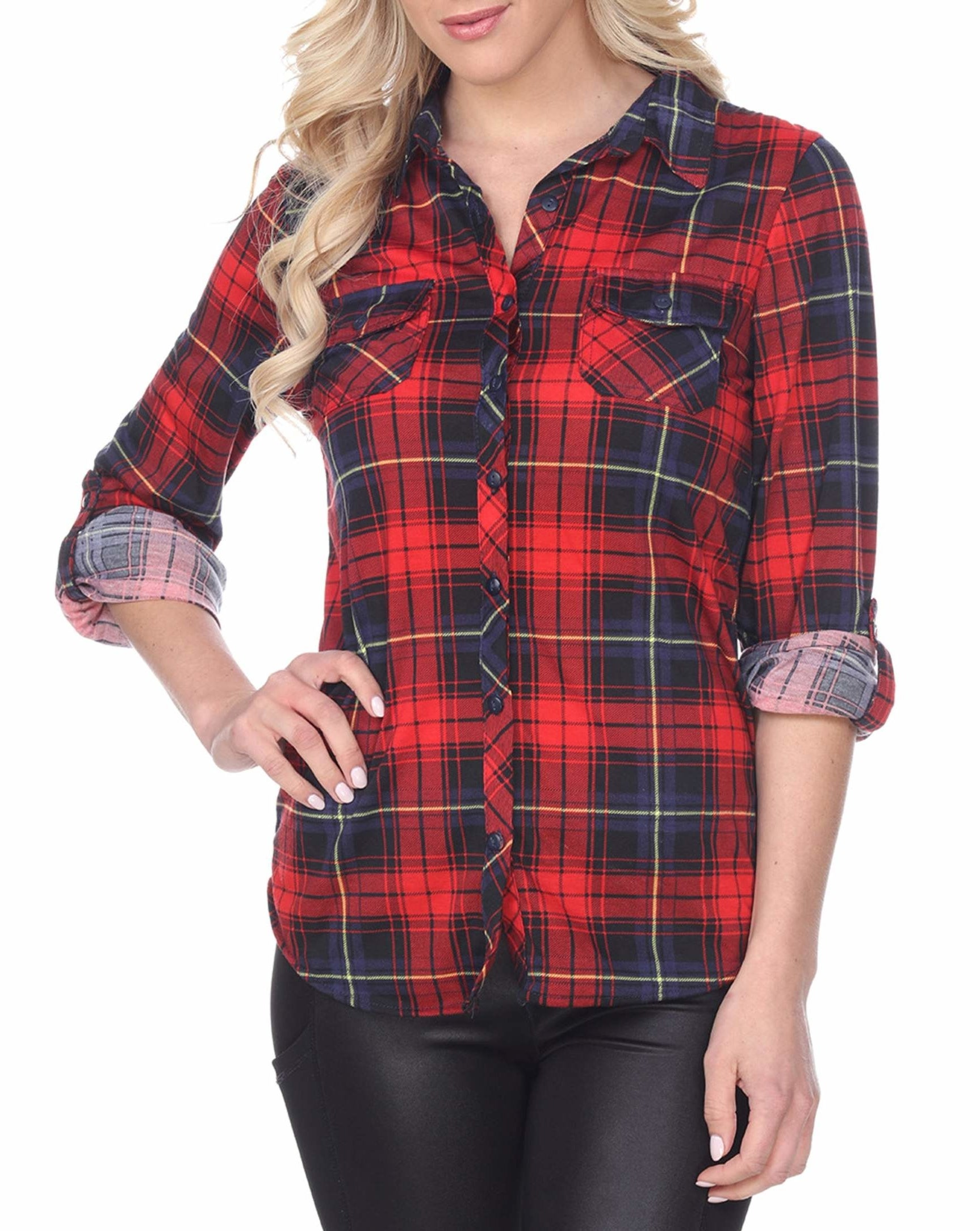 model wearing red and blue plaid button-up shirt
