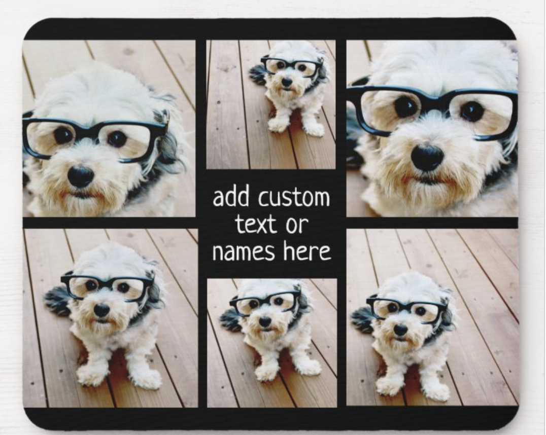 mouse pad with a collage of dog pics on it