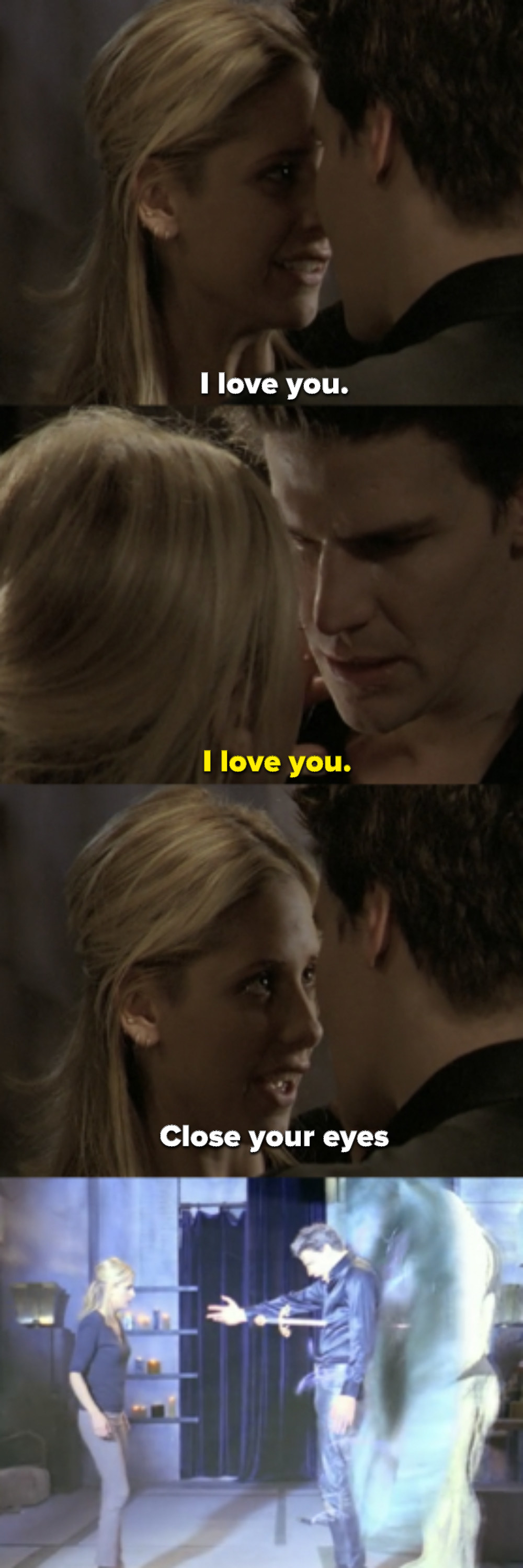 They both say I love you, then Buffy says to close his eyes and stabs him, pushing him into the portal