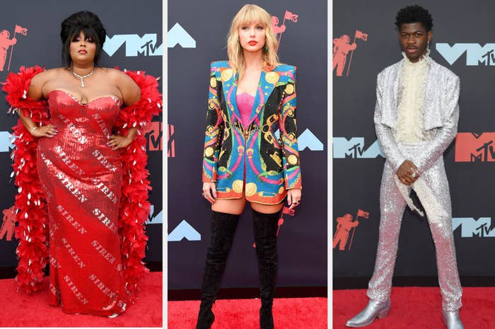 "Lizzo wears a boa and sequin dress with ""siren"" printed all over, Taylor wears a sequin '80s-inspired blazer and thigh-high boots, Lil Nas X wears a cowboy-inspired sequin suit"