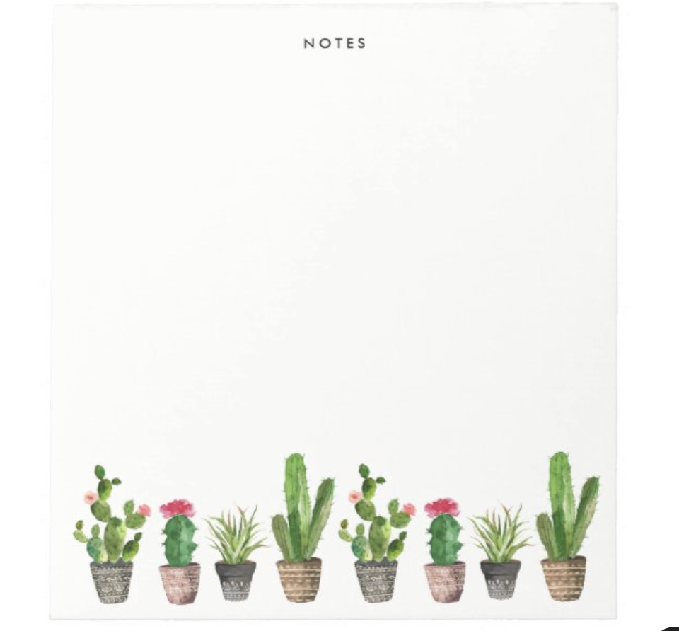 "A square-shaped notepad that says ""notes"" on top and has little succulents at the bottom"