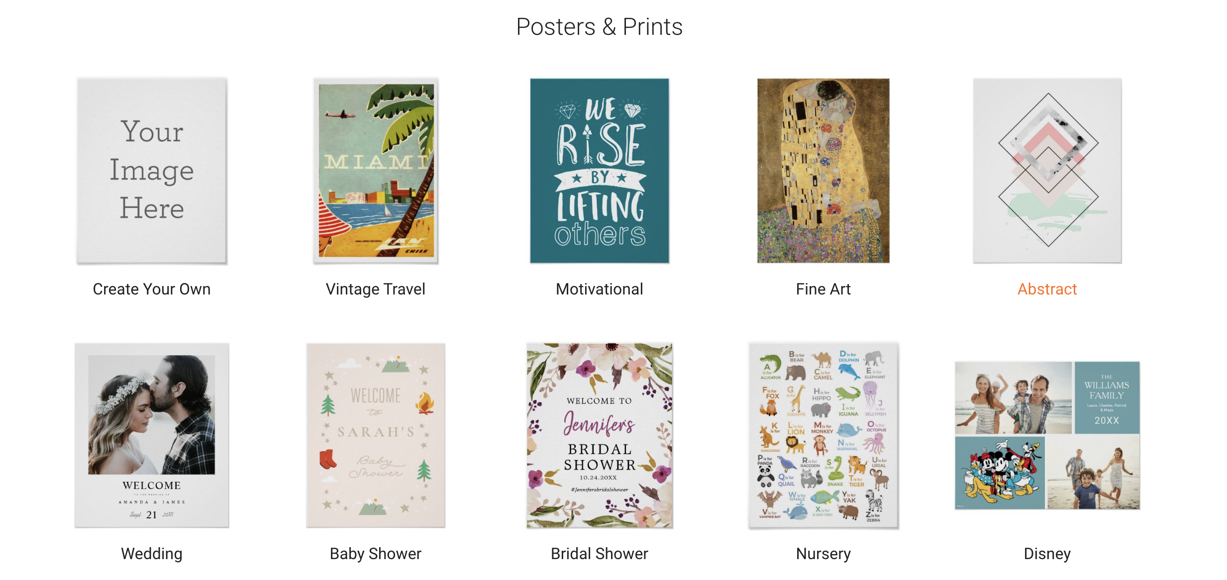 10 different poster sections Zazzle offers on the main page