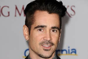 Colin Farrell posing at an event with hopping earrings in his ear