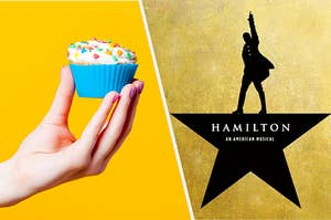 A cupcake next to Alexander Hamilton from the popular musical