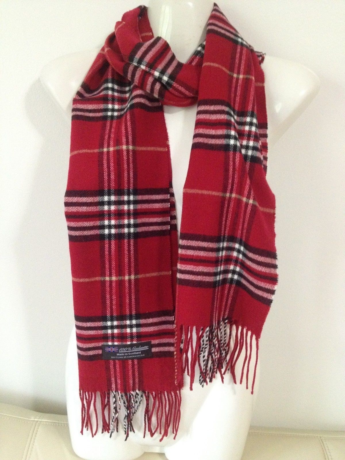 red plaid scarf with tassel fringe