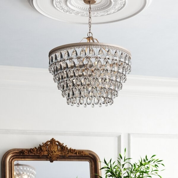 Round crystal chandelier with six nesting levels of teardrop crystals