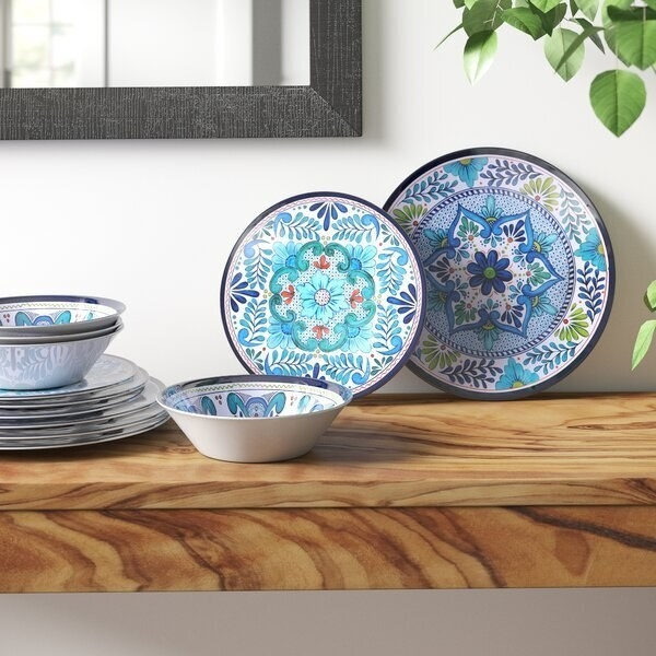 Mexican blue tile patterned dishes