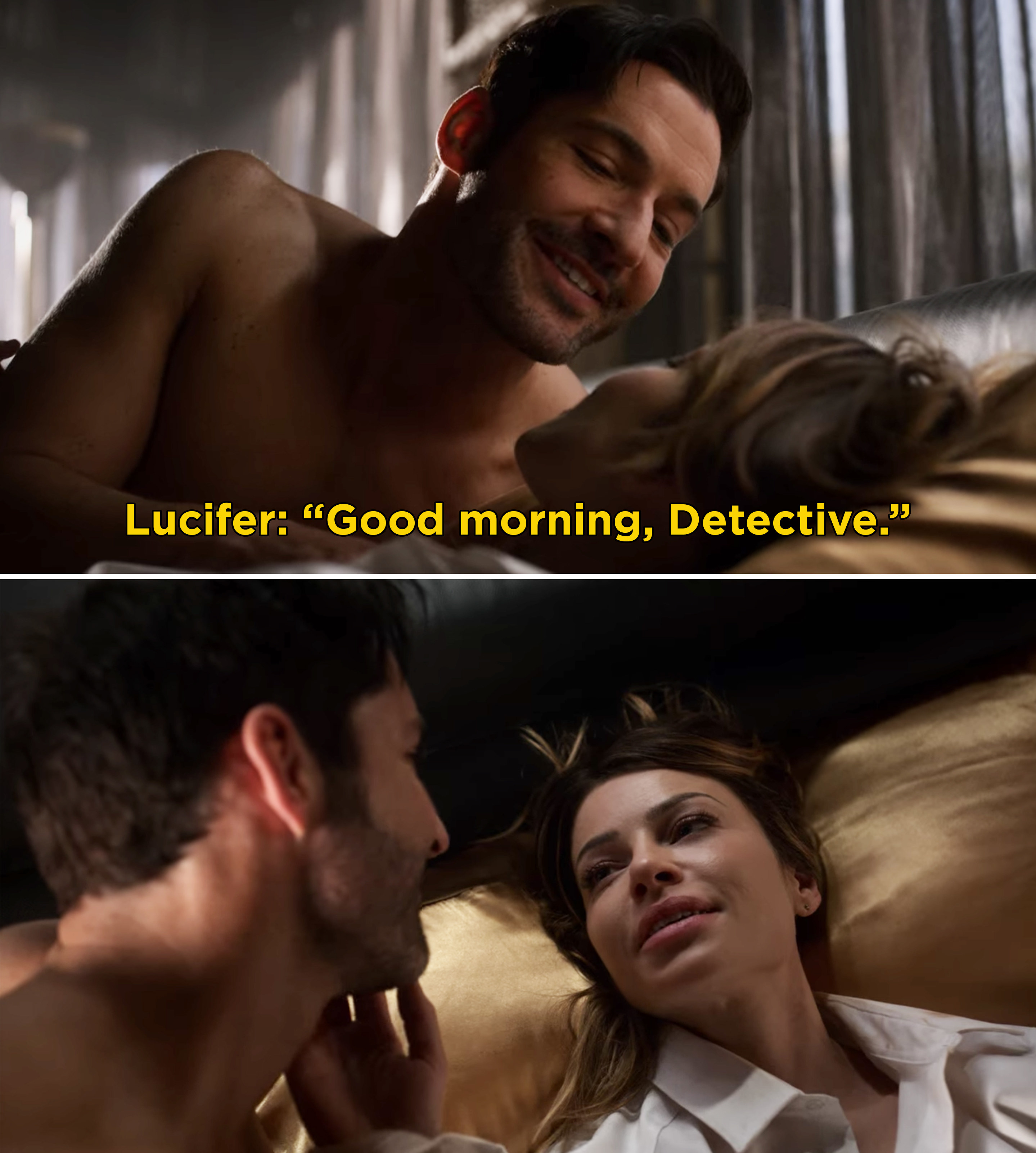 """Lucifer and Chloe in bed together and Lucifer saying, """"Good morning, Detective"""""""