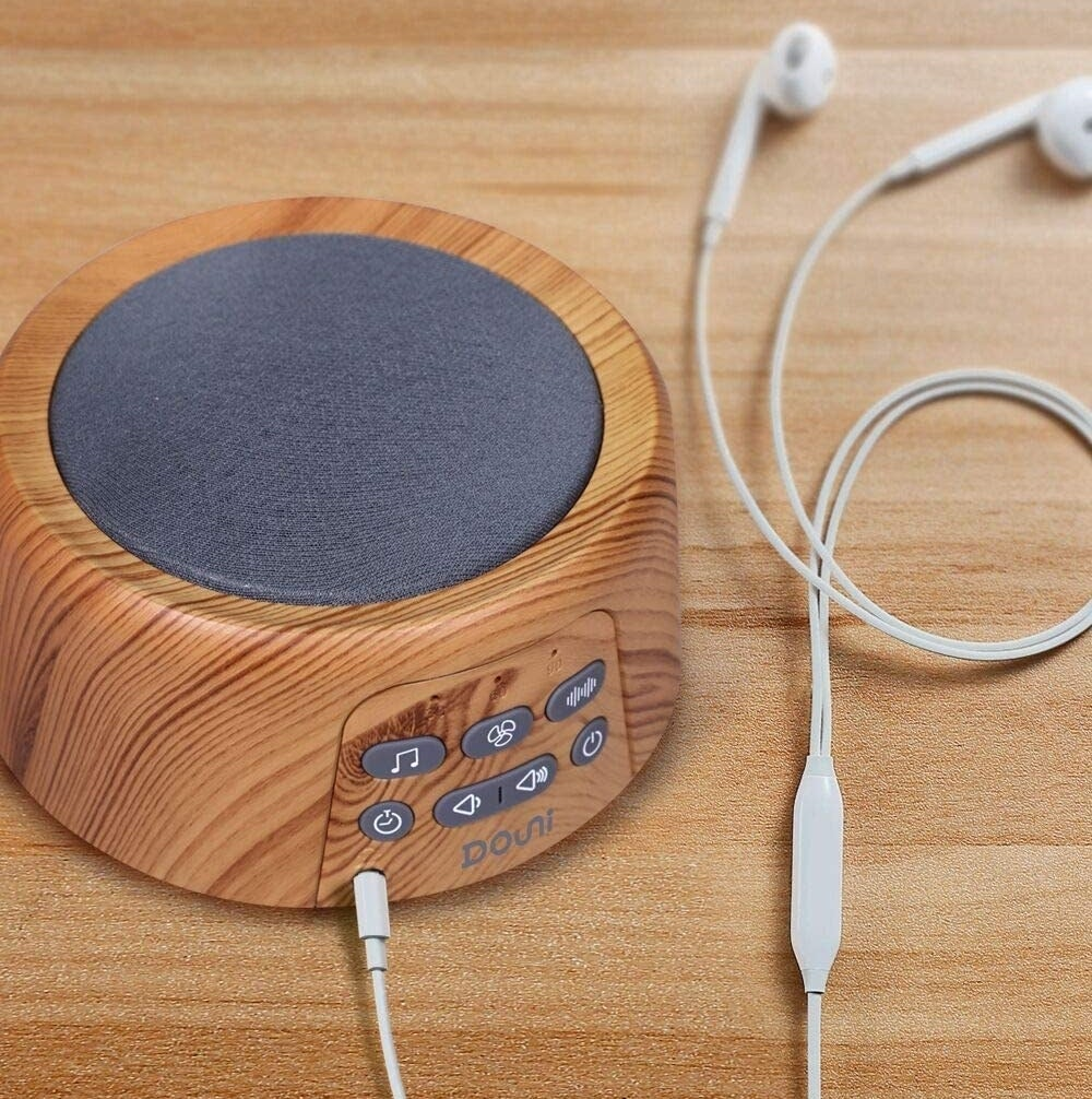 the sound machine with a wooden exterior
