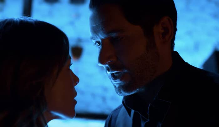 Lucifer and Chloe looking at each other while kissing