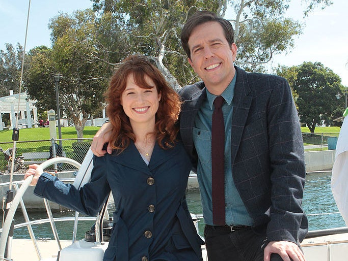 """Ellie Kemper and Ed Helms on a boat, in a scene from """"The Office"""""""