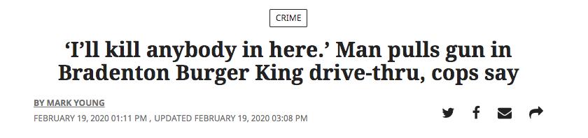'I'll kill anybody in here.' Man pulls gun in Bradenton Burger King drive-thru, cops say