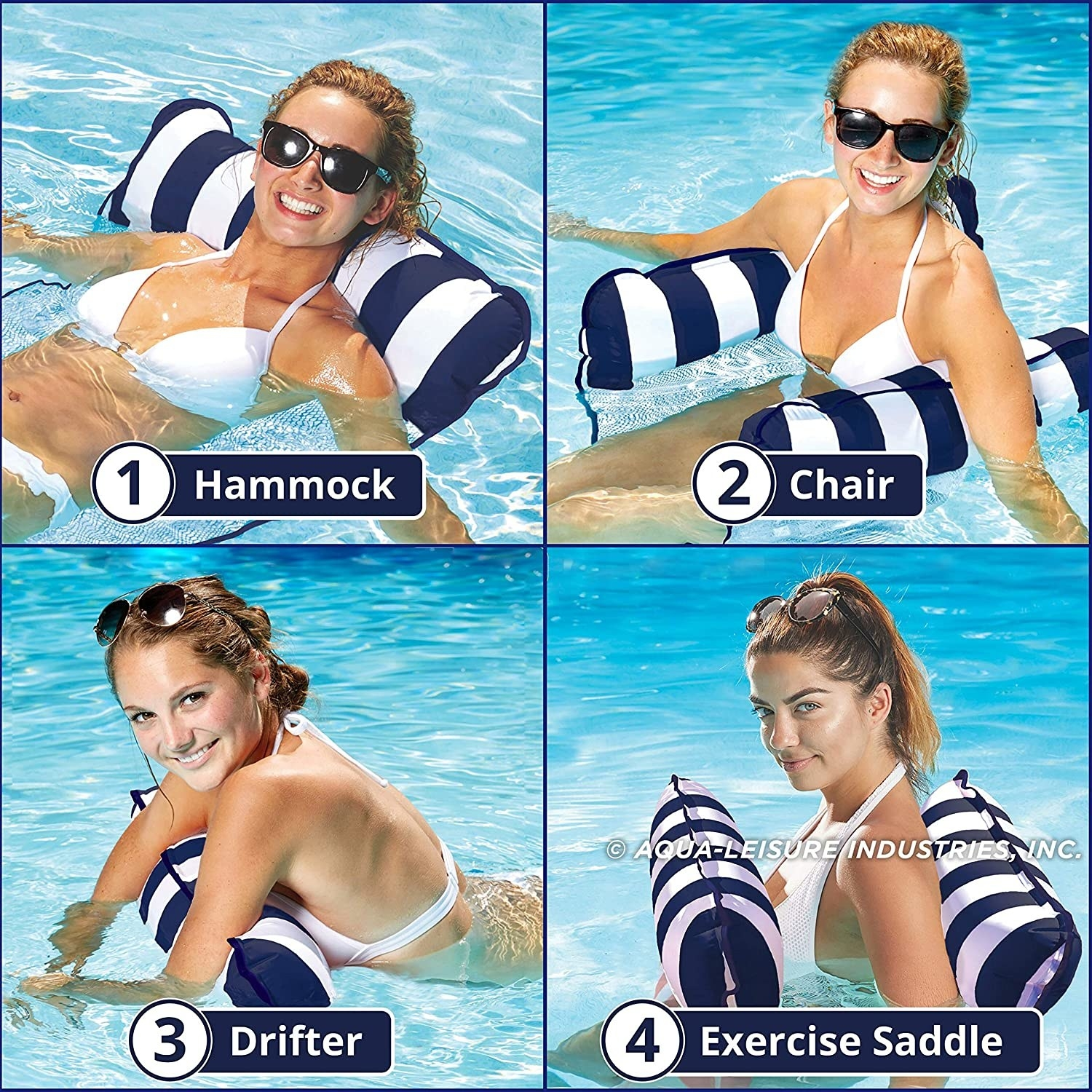 Model showing four ways to use the float, which is set up like a floating hammock