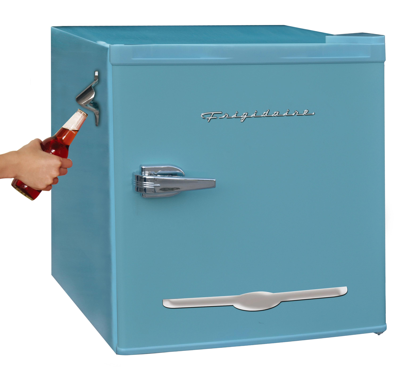 The blue mini fridge