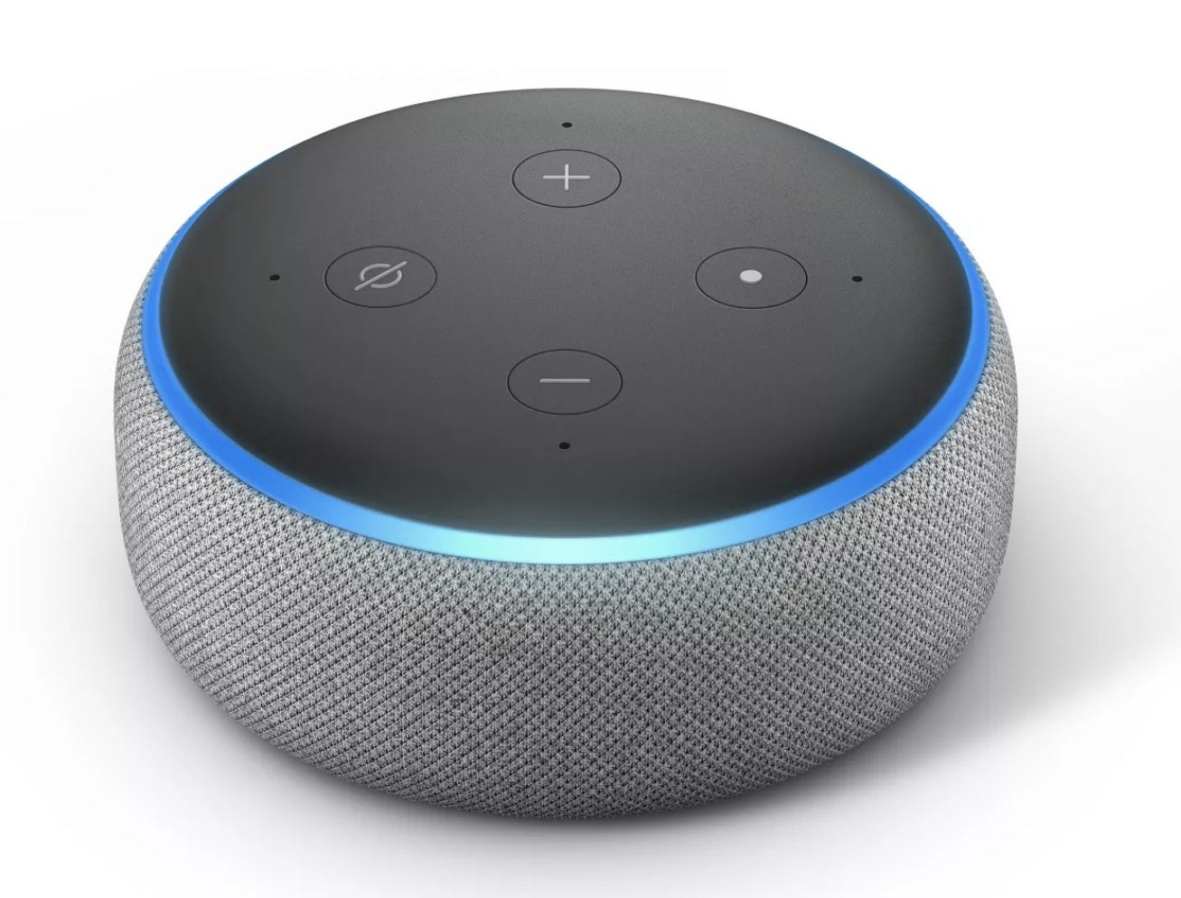 A round speaker with buttons for changing the volume and waking Alexa with a blue ring lit up