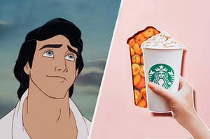 Prince eric dreamily staring at a pumpkin spice latte