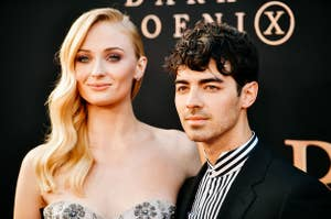 Sophie Turner and Joe Jonas smiling on the red carpet