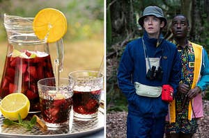 """A pitcher of sangria on the left with Otis from """"Sex Education"""" camping on the right"""