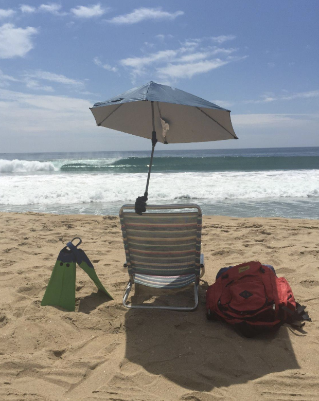Sportbrella attached to a beach chair