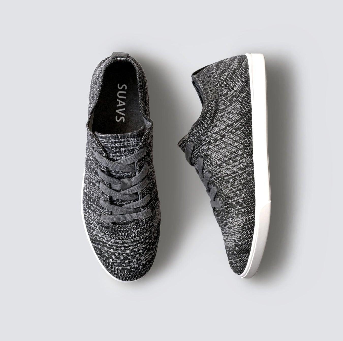 grey knit sneakers