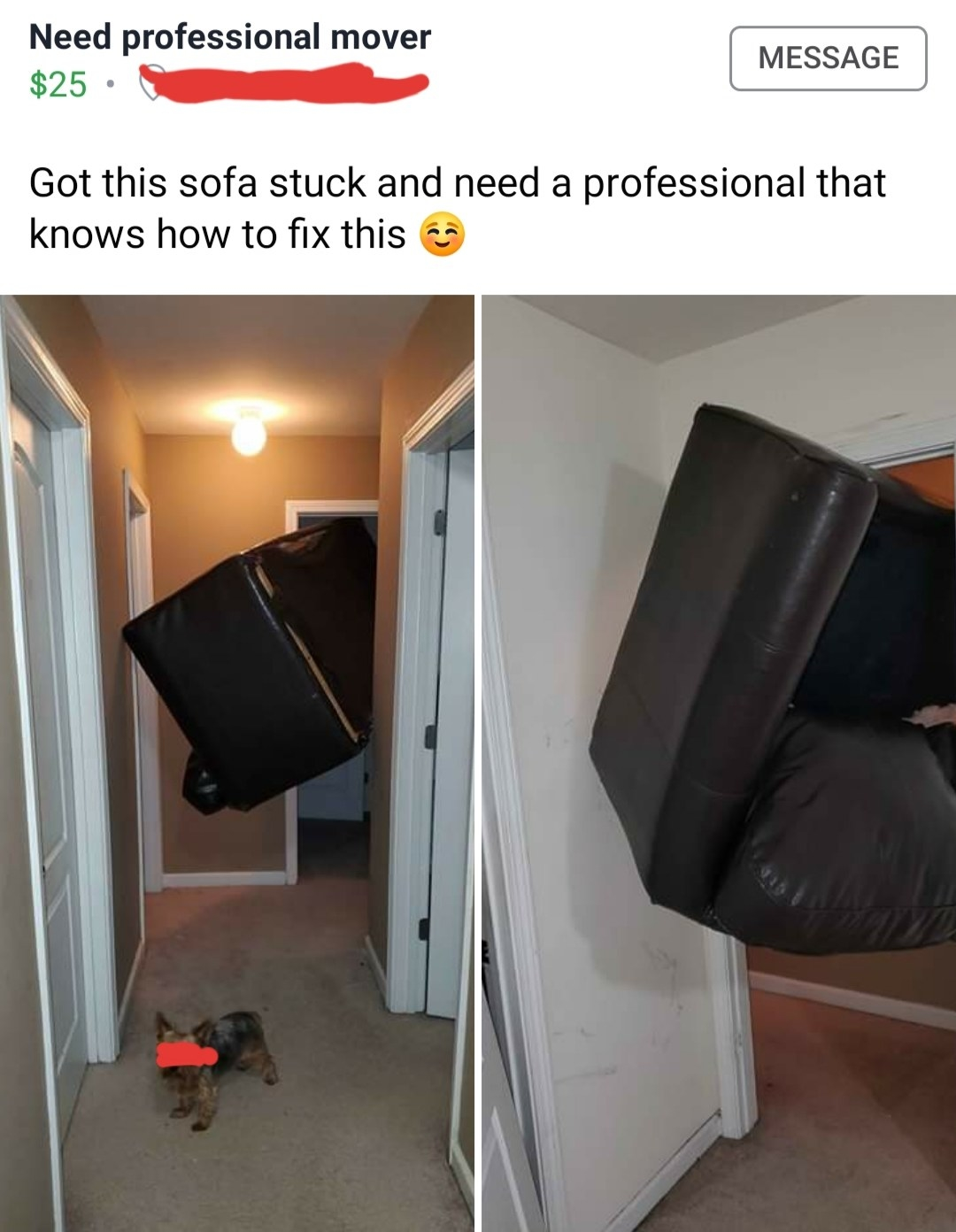 picture of a couch stuck in a doorway