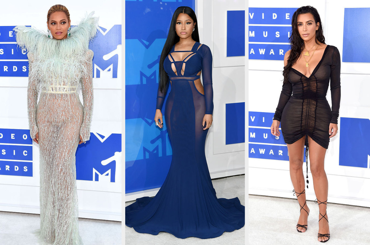 Beyoncé wears a see-through gown with a feather collar, Nicki wears an elegant cut-out gown, Kim wears a sheer off-one-shoulder dress