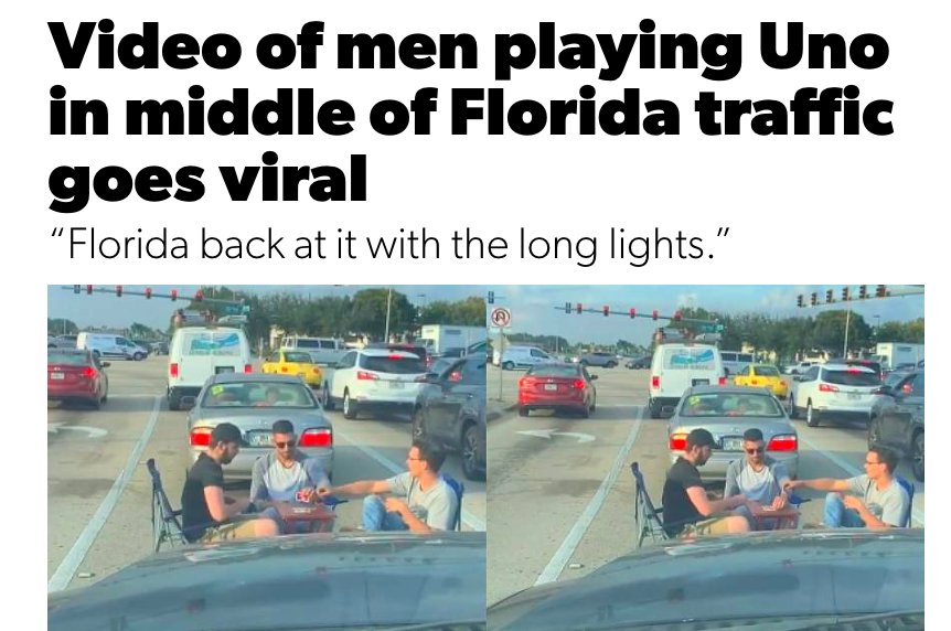 Video of men playing Uno in middle of Florida traffic goes viral