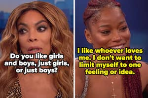 Wendy Williams asking Keke Palmer if she likes boys or girls, and Keke responding with:
