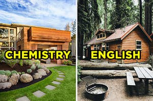 """On the left, a modern house with large windows with """"chemistry"""" typed on top of the image, and on the right, a cabin in the forest with """"English"""" typed on top of the image"""