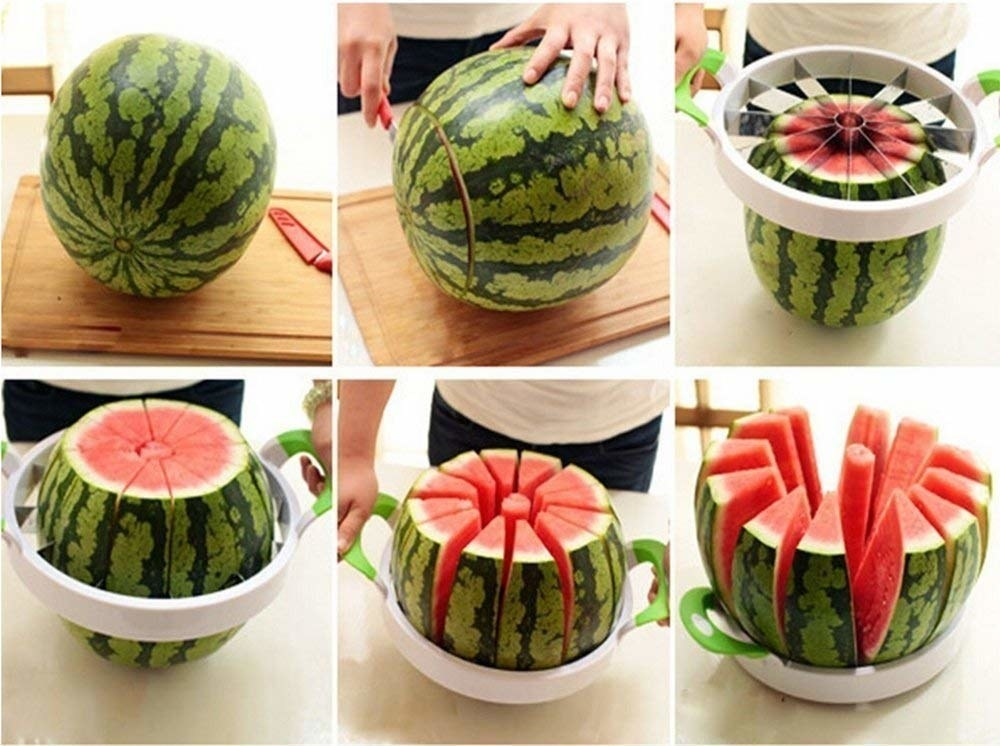 The tool being used to chop a watermelon