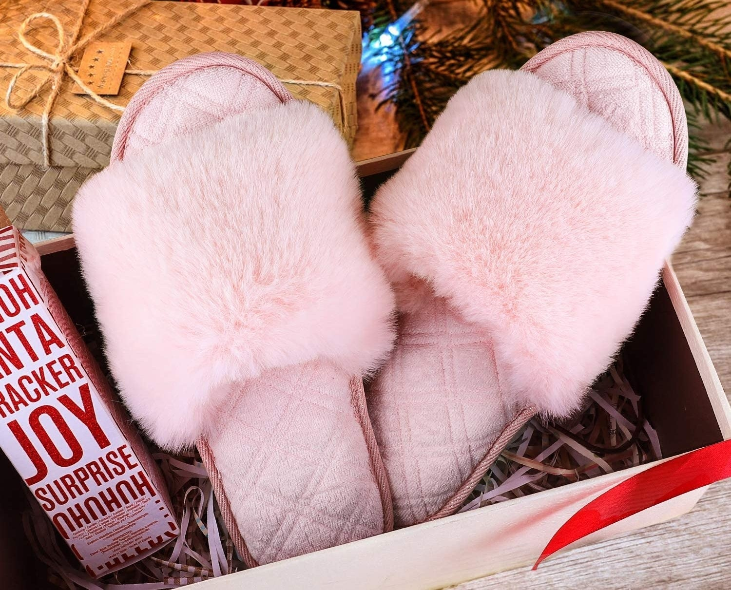 A pair of slippers in a box