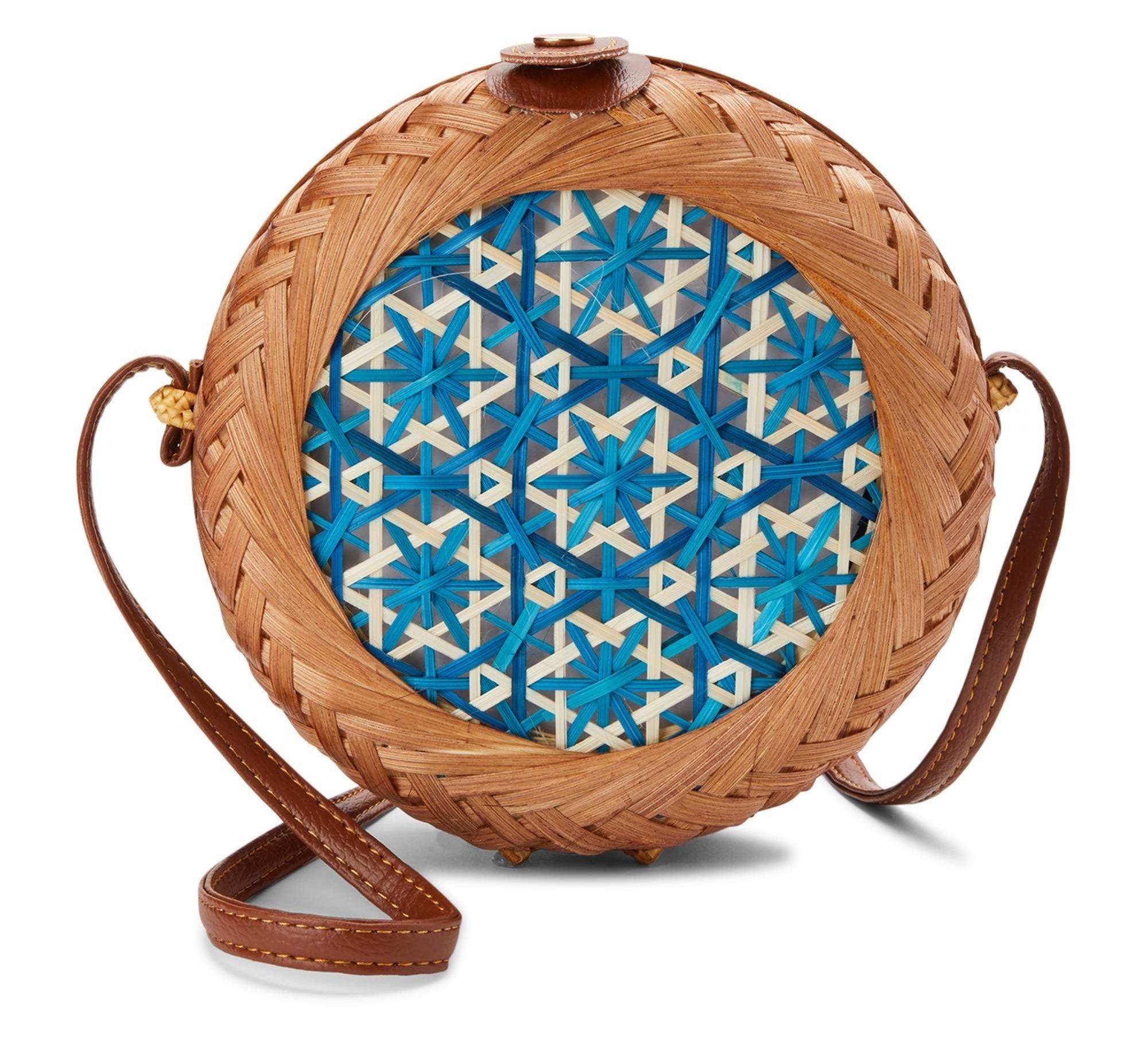 The circle mini crossbody straw bag
