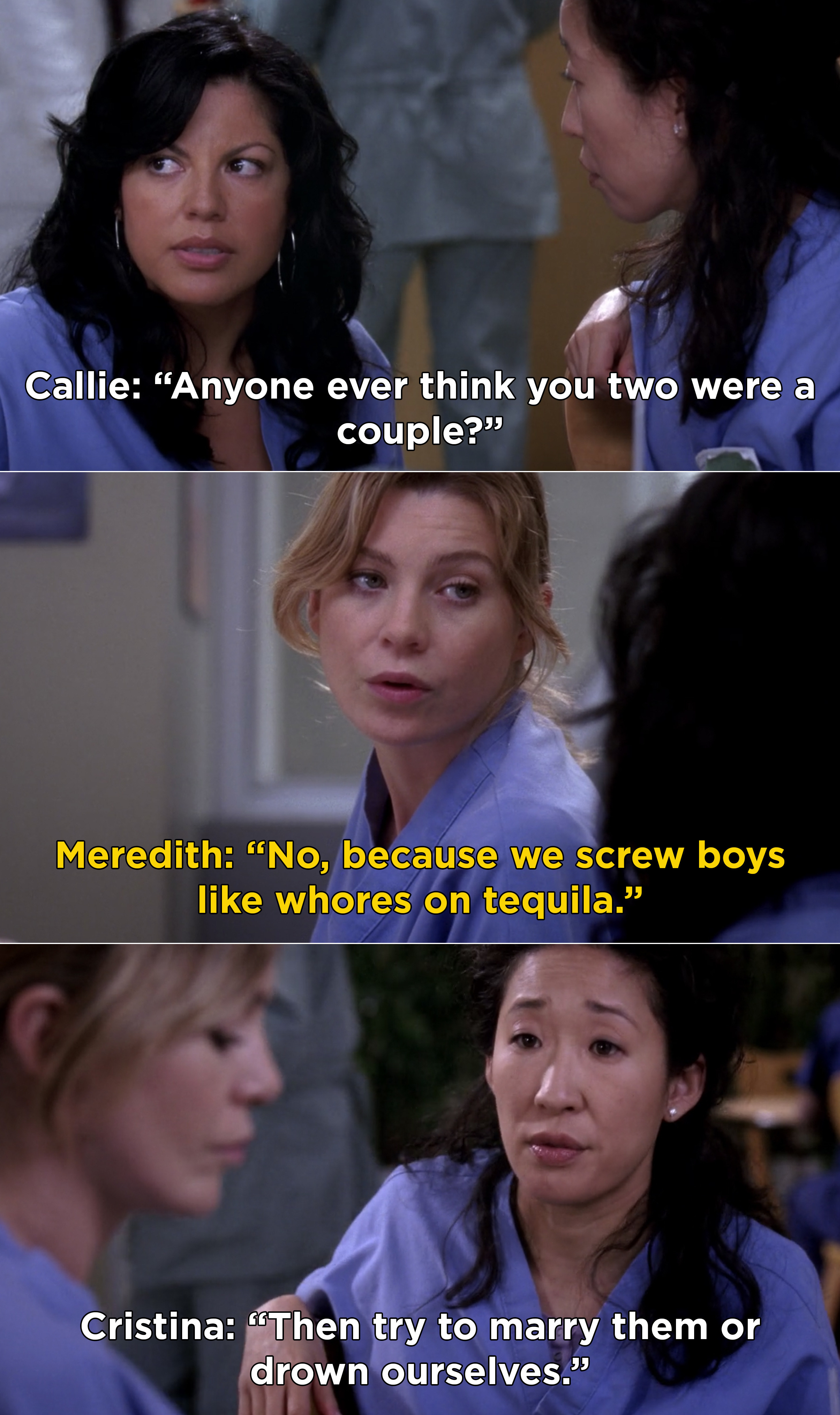 "Meredith saying that her and Cristina are never mistaken for a couple because they ""screw boys like whores on tequila"""