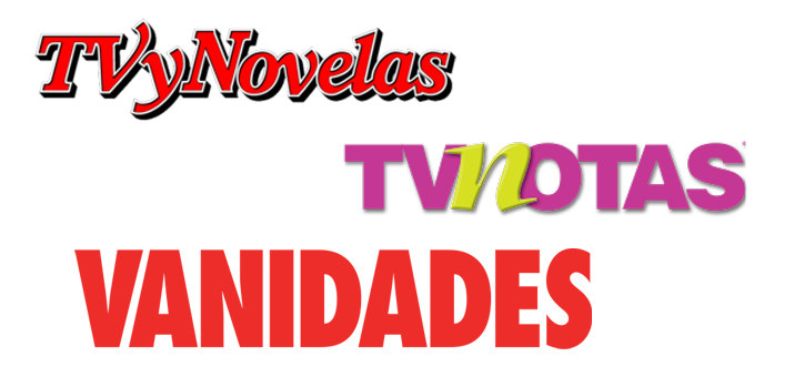 The logos for TV y Novelas, Vanidades, and TVNotes magazines