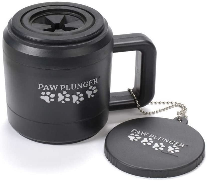 Black dog paw plunger that looks like a coffee cup