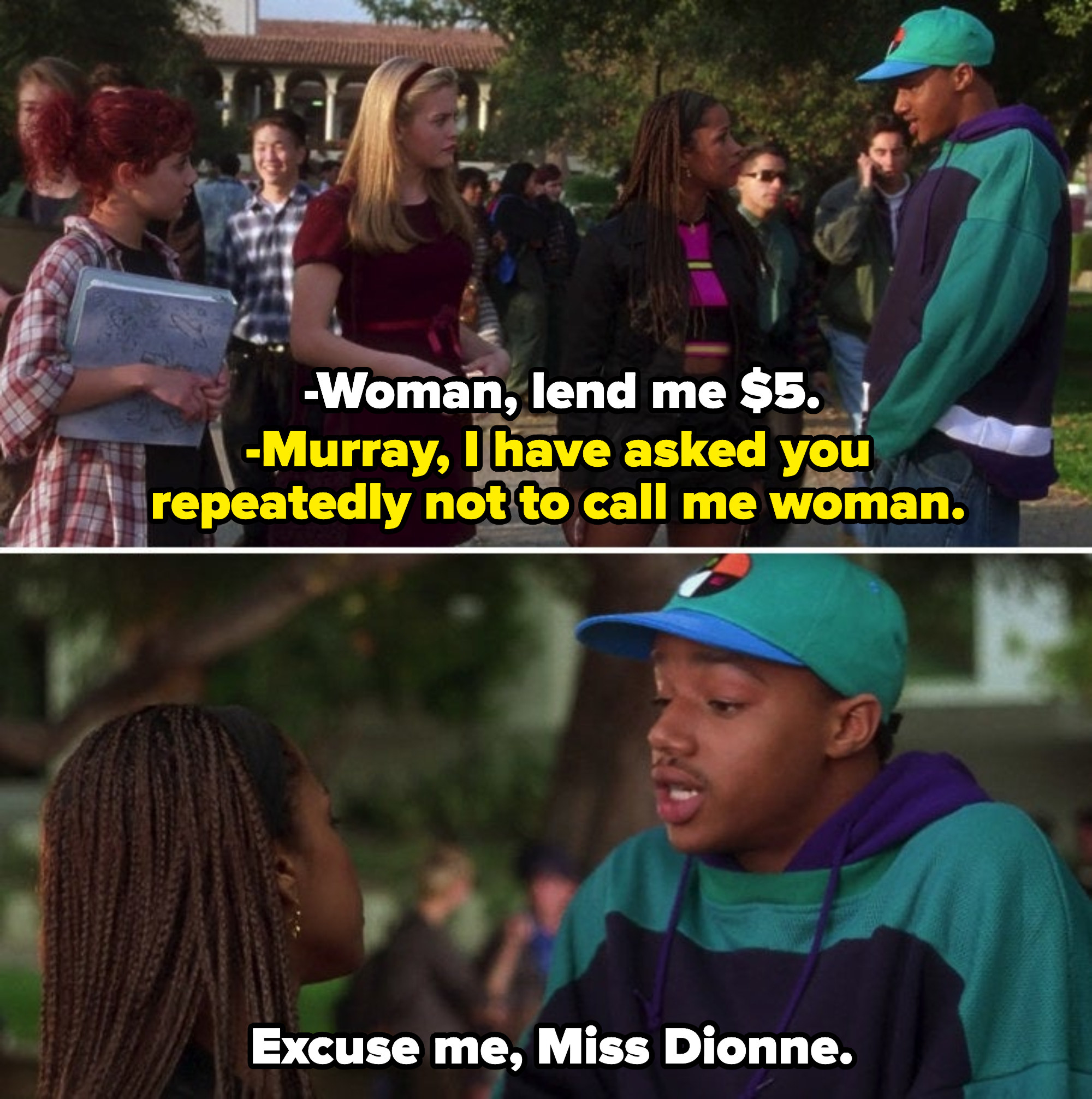 "Murray and Dionne having an argument at school over Murray referring to her as ""woman"""
