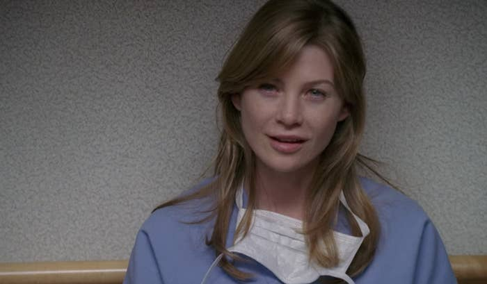 "Ellen Pompeo as Meredith in the first episode of ""Grey's Anatomy"""