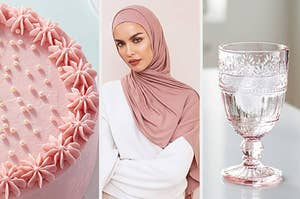 a cake a person in a hijab and a glass