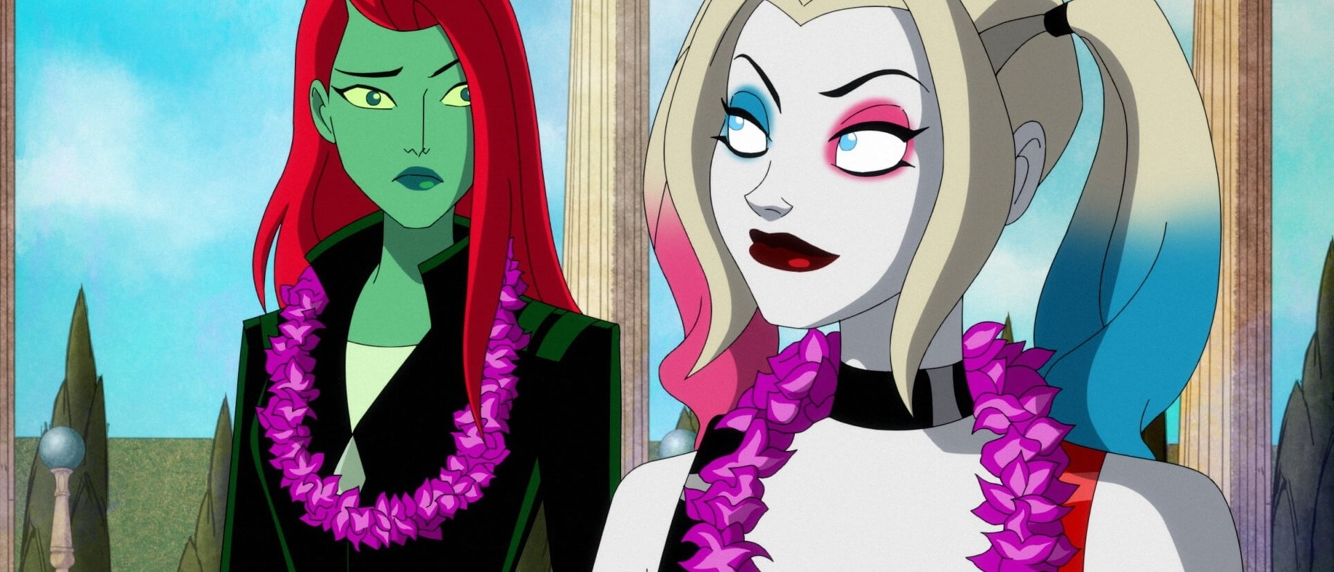 Lake Bell as Poison Ivy with Harley Quinn