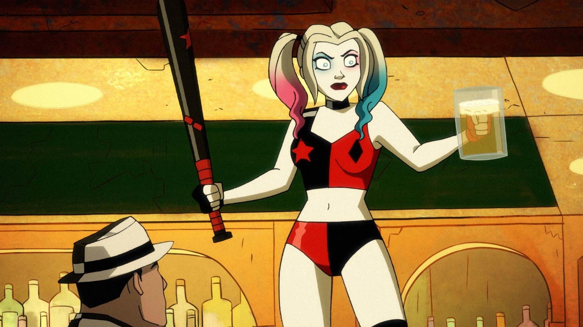 Animated Harley Quinn holding a beer and a baseball bat