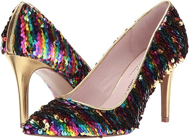 A pair of stilettos with rainbow sequins