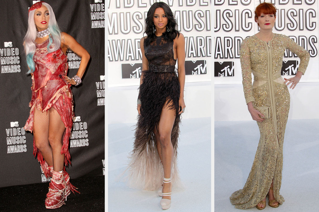 Lady Gaga wears a raw meat-themed dress with matching shoes and headpiece, Ciara wears an elegant feather gown, Florence wears a sequin floor-length gown